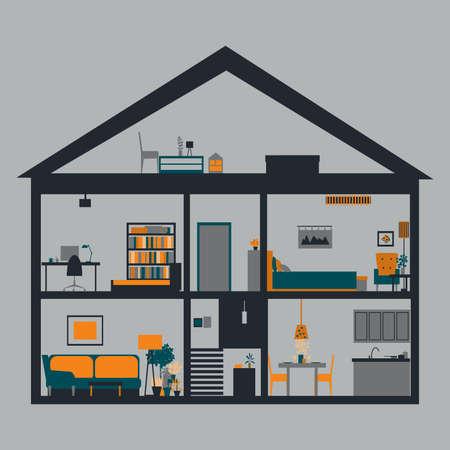 Illustration pour House in cut. Modern house interior.Vector illustration - image libre de droit