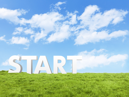 Photo pour blue sky cloud field start typo - image libre de droit
