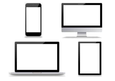 Illustration pour Desktop computer and smartphone white background - image libre de droit