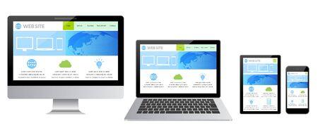 Illustration pour Desktop Computer Displaying Web Page-white Background - image libre de droit