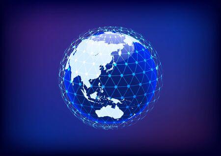 Illustration for Blue digital network sphere image - Royalty Free Image