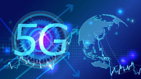 Illustration pour World map polygon digital cyber 5G image. - image libre de droit
