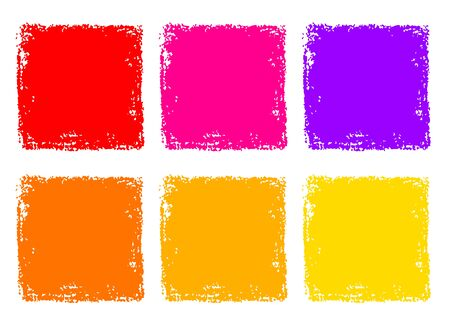 Illustration for Red Yellow Orange Crayon Rectangle Texture Background Set - Royalty Free Image