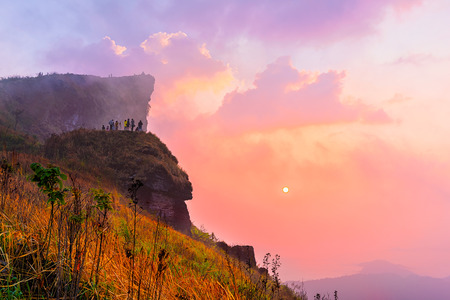 Phu Chi Fah in Chiang Rai,Thailand at sunrise.Phu Chi Fah, is a mountain area and national forest park. it is one of the famous tourist attractions of the Thai highlands near Chiang Rai.