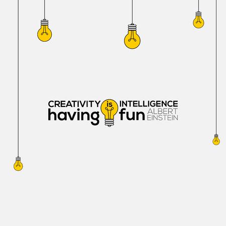 Illustration for creativity is intelligence having fun wall art, Albert Einstein Quotes, creativity is intelligence having fun, creativity Quote vector illustration, creativity Quote typography. - Royalty Free Image