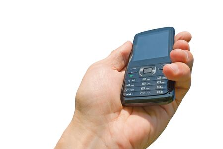 Mobile phone in a man's hand, isolated.