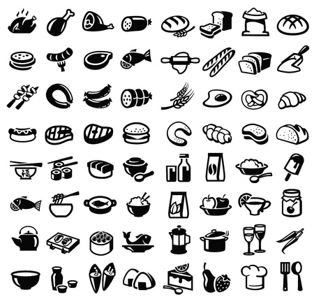 vector black food icon set on white