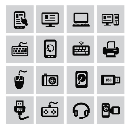 vector black of electronic devices icon set