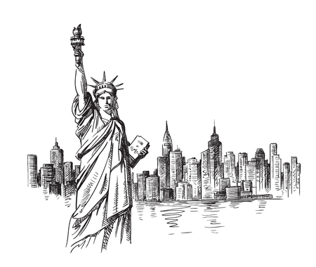 New York hand drawn sketch. Vector illustration