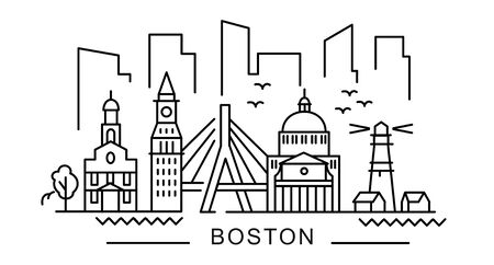 Illustration for city of Boston in outline style on white - Royalty Free Image