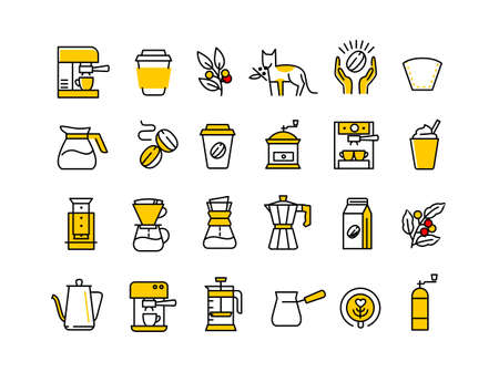 Illustration for Coffee line icons. Beans, espresso and coffee maker machine. Roasted fresh. Outline set. - Royalty Free Image