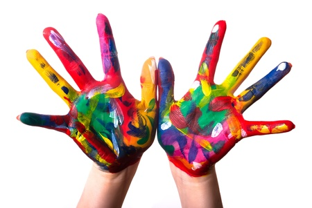 Photo for two painted colorful hands against white background - Royalty Free Image