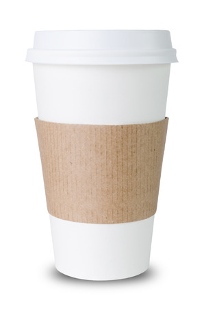 Paper cup with Sleeve isolated before white