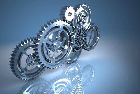 Photo pour gear machinery and titanium concept - image libre de droit