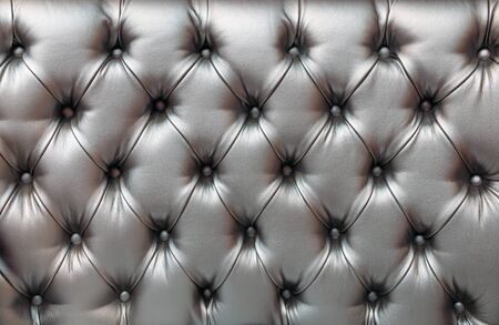 Photo pour Light gray horizontal elegant leather texture with buttons for background and design - image libre de droit
