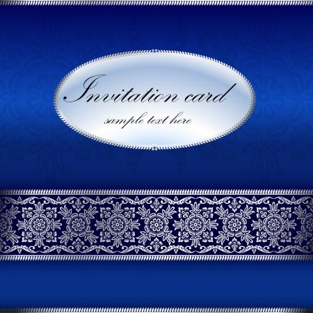 Blue invitation card with ornament motif