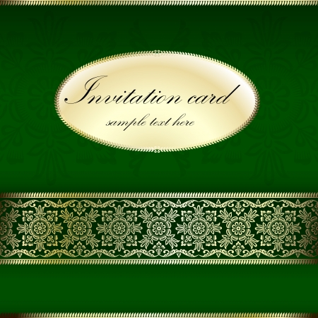 Green and gold invitation card with ornament motif