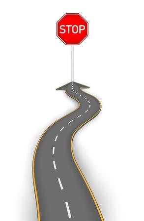 Illustration pour Road to stop board vector illustration - image libre de droit