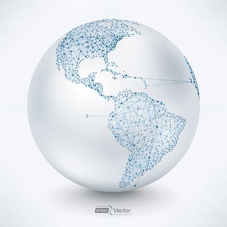 Illustration pour Abstract Earth Map Telecommunications America - image libre de droit