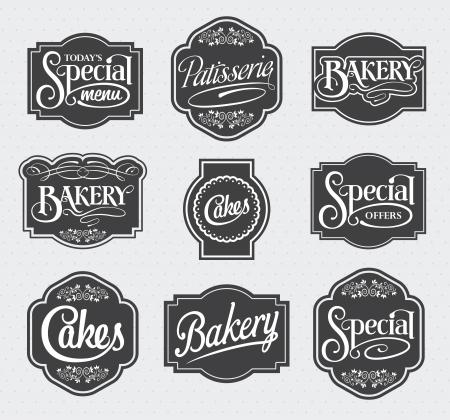 calligraphic sign and label design set