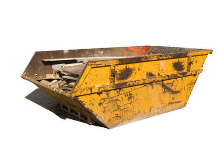 Old yellow builders skip, Isolated on white, Clipping paths for skip and shadow.
