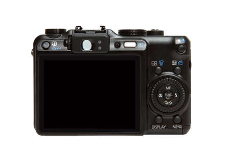 Back of a compact digital camera, isolated on white