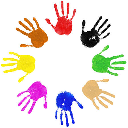 Multi coloured painted handprints arranged in a circle on a white background.