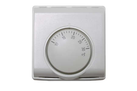 Central heating thermostat control isolated on a white background.
