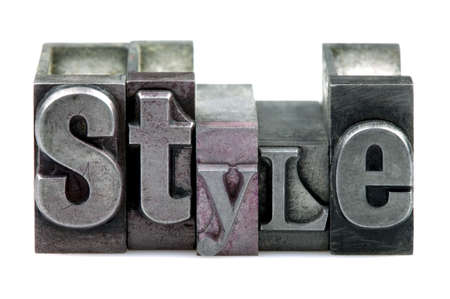 The word STYLE in old letterpress printing blocks isolated on a white background.