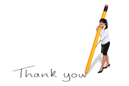Businesswoman writing the words Thank you with a giant pencil, isolated on a white background.