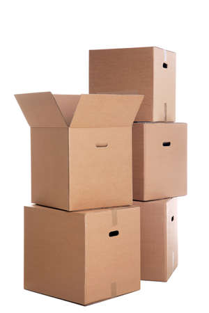 A stack of cardboard boxes isolated on a white background.