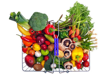 Photo of a wire shopping basket full of fresh fruit and vegetables, shot from above and isolated on a white background.