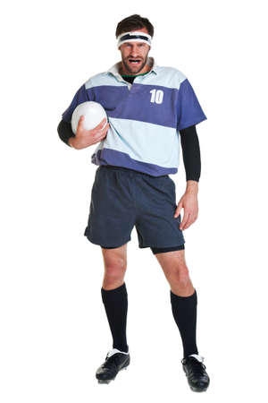 rugby player cut out on a white background.