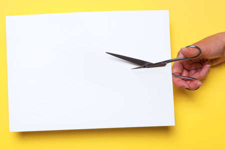 hand cutting through a blank piece of white paper with chrome scissors on a yellow background, add your own image or text.