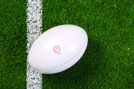 a rugby ball on a grass next to the white line, shot from above.