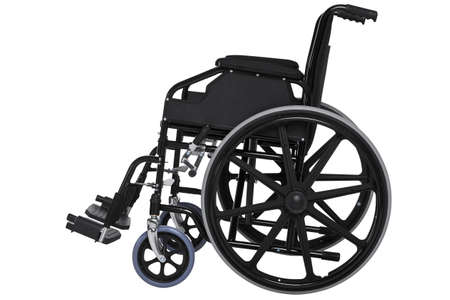 Photo of a wheelchair isolated on white with a very detailed clipping path.