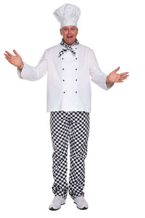 Photo of a happy chef in white uniform with his arms open in a welcoming gesture isolated on a white background.