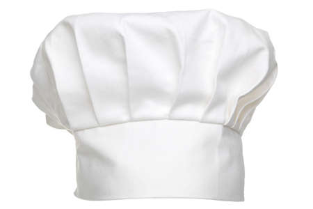 a chefs hat traditionally called a toque blanche, isolated on a white background.