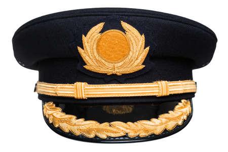 Foto de an airline pilots hat or cap with gold insignia - Imagen libre de derechos