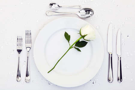 Place setting with a white rose on the plate