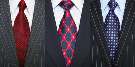 Triptych photo of a three pinstripe suits with shirt and ties.