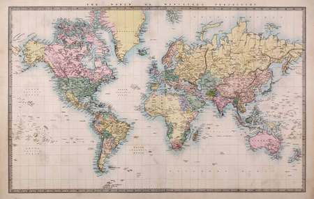 Original old hand coloured map of the World on Mercators projection circa 1860