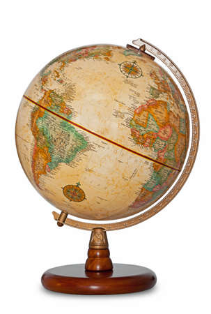 Antique world globe isolated on a white background with clipping path.
