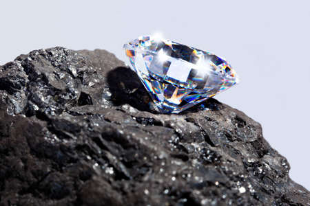 Photo of a single cut diamond on a piece of coal against a plain background.