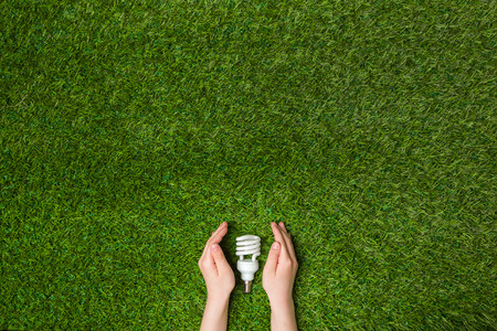 Hands guarding energy saving eco lamp over grass