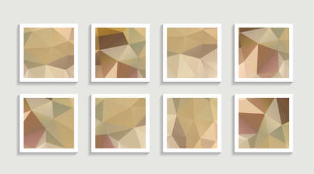 Illustration for Modern mosaic low poly artwork poster set with simple shape and figure. Abstract minimalist pattern design style for web, banner, business presentation, branding package, fabric print, wallpaper. Vector illustration. - Royalty Free Image
