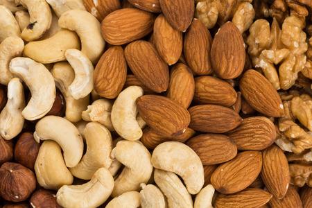 Peanuts, walnuts, almonds, hazelnuts and cashews nuts mixed together
