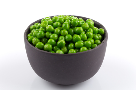 Photo for Bowl of green wet pea isolated on white background - Royalty Free Image