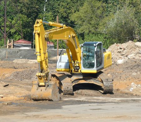 track-type excavator on ground at day