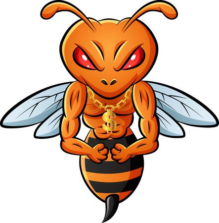 Illustration pour Strong bee mascot. vector illustration - image libre de droit